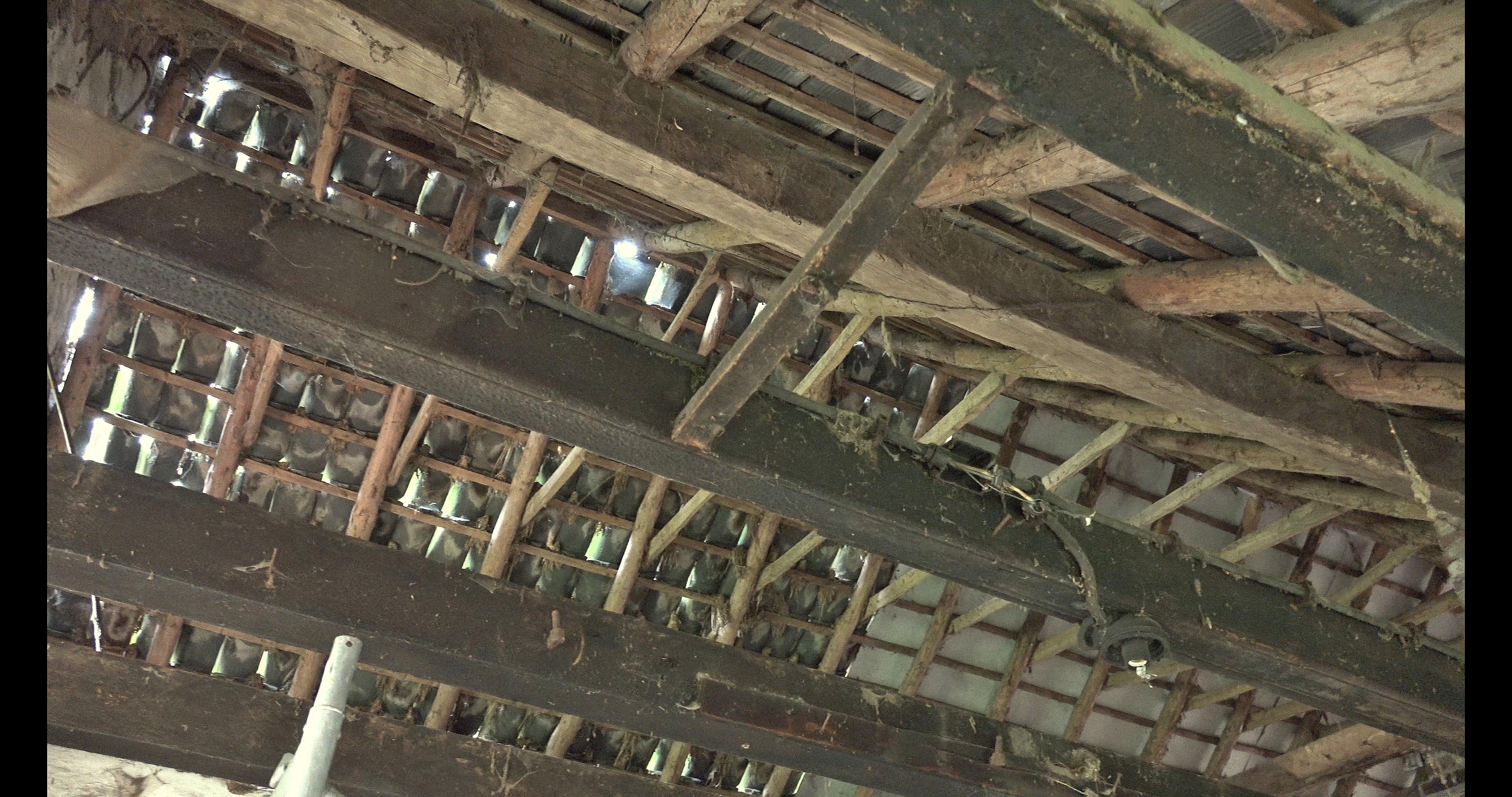 Het oude dak, rechts de asbestplaten.